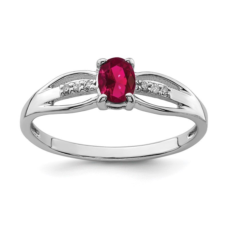 Quality Gold Sterling Silver Rhod-plated Diamond Created Ruby Ring