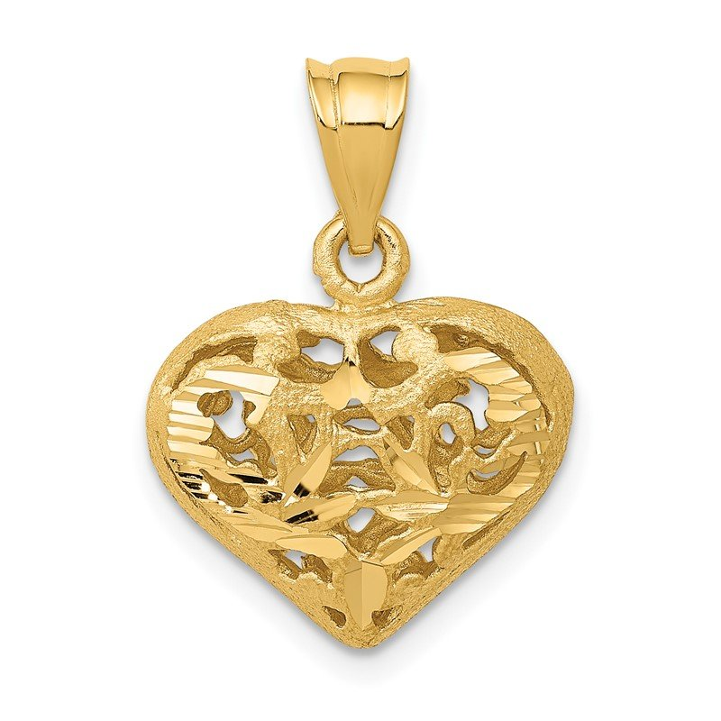 Quality Gold 14K Polished 3-D Filigree Puffed Heart Pendant