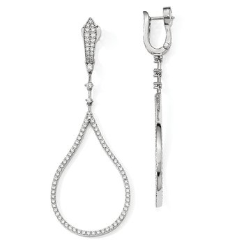 Sterling Silver Rhodium-plated CZ Tear Drop Dangle Safety Hinged Earrings