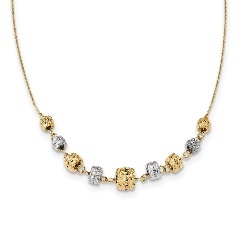 Quality Gold 14k Two-tone Diamond-cut Polished Graduated Barrels Necklace