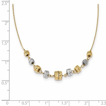 14k Two-tone Diamond-cut Polished Graduated Barrels Necklace