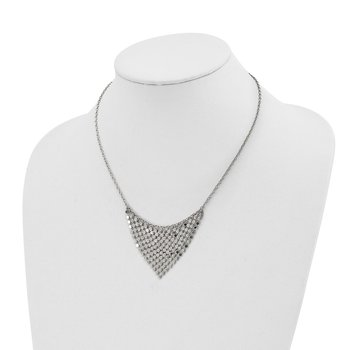 Stainless Steel Polished Fancy Dangle 17.75 inch Bib Necklace