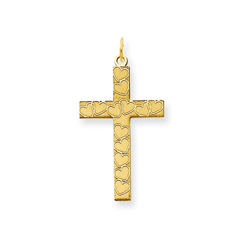 Quality Gold 14K Laser Designed Cross Pendant