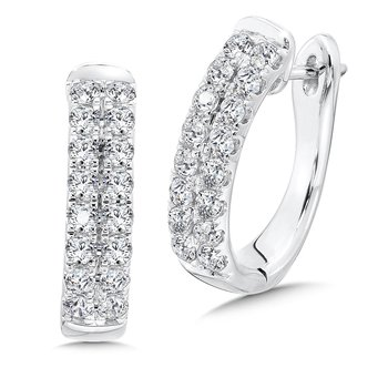 Double Row Prong set Diamond Oval Hoops in 14k White Gold (2.00 ct. tw.)