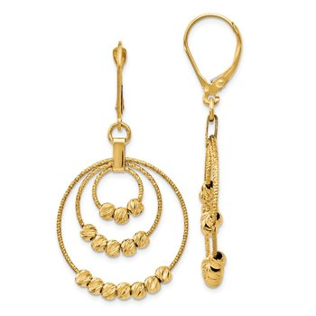 Leslie's 14k Diamond-Cut Round Beaded Leverback Earrings