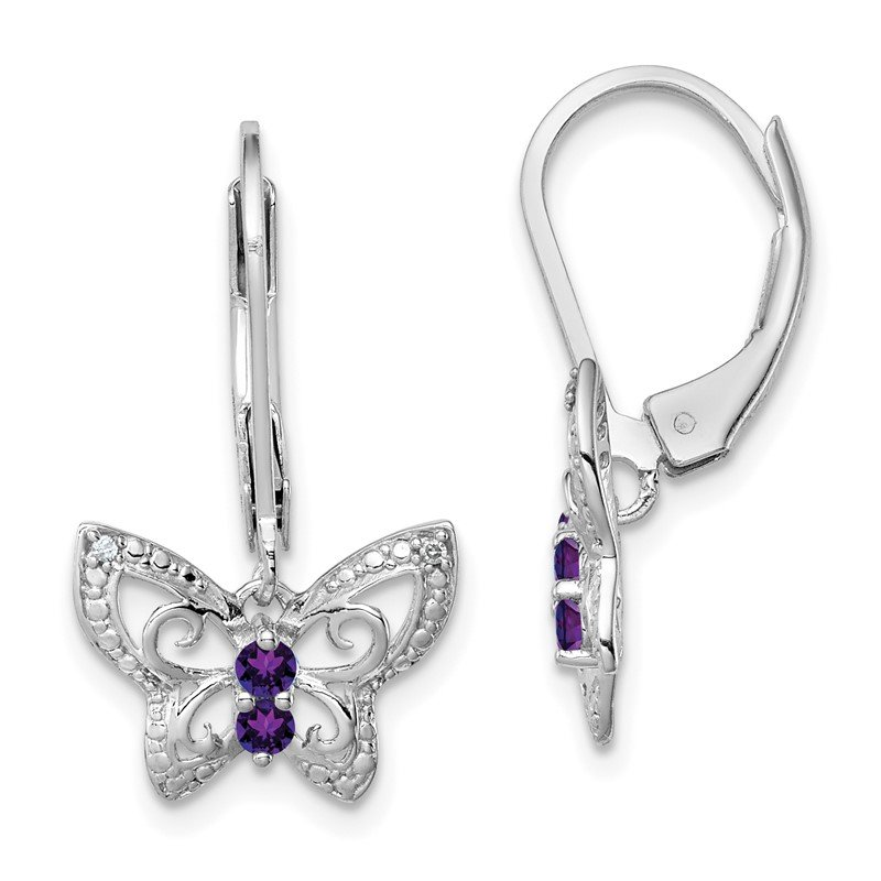 Quality Gold Sterling Silver Rhodium-plated Amethyst & Diamond Butterfly Earrings