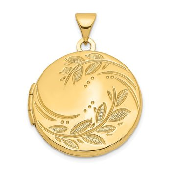 14k 20mm Round Leaf Floral Locket