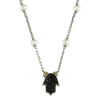 18kt and Sterling Silver White Pearl and Black Diamond Hamsa Necklace