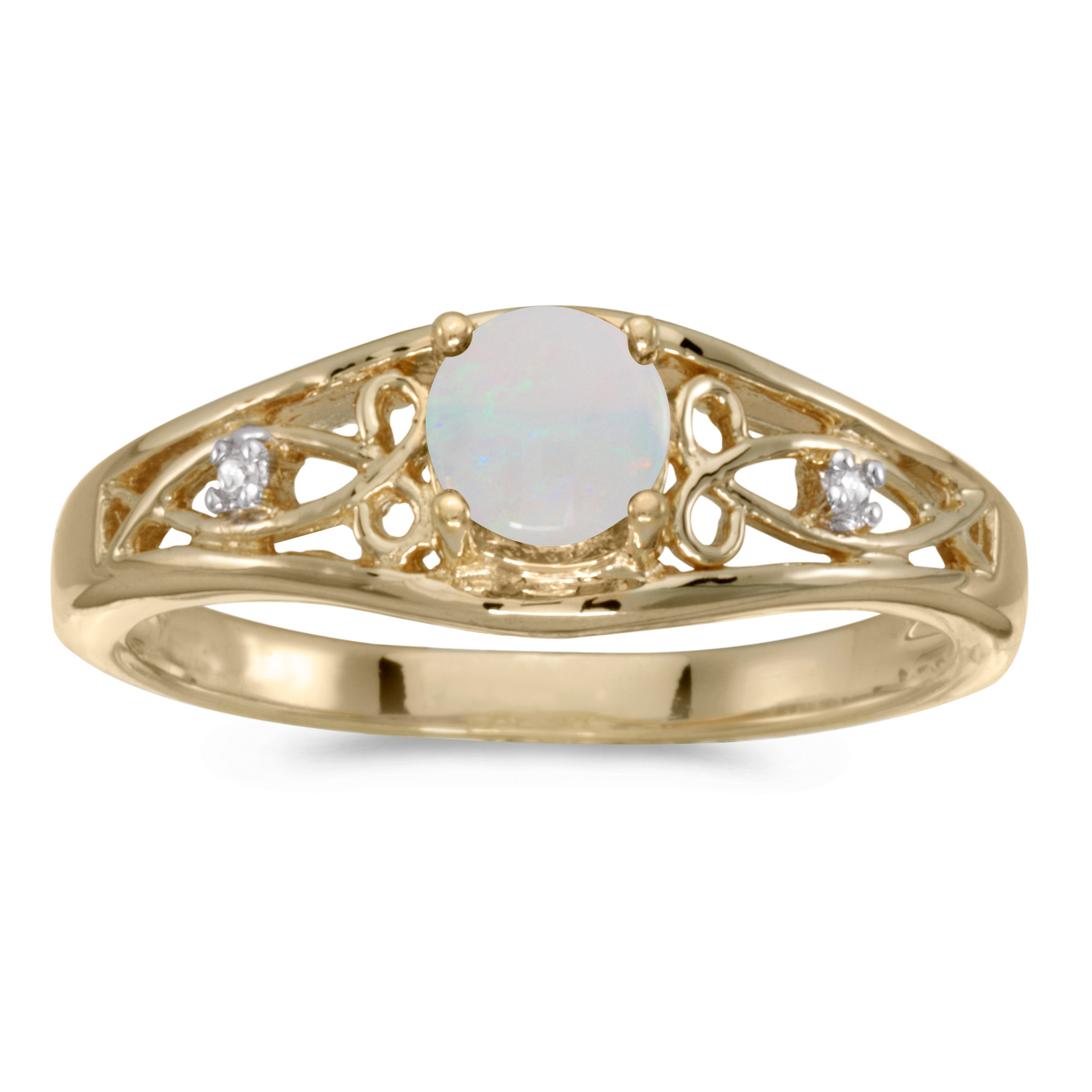 14k Yellow Gold Round Opal And Diamond Ring