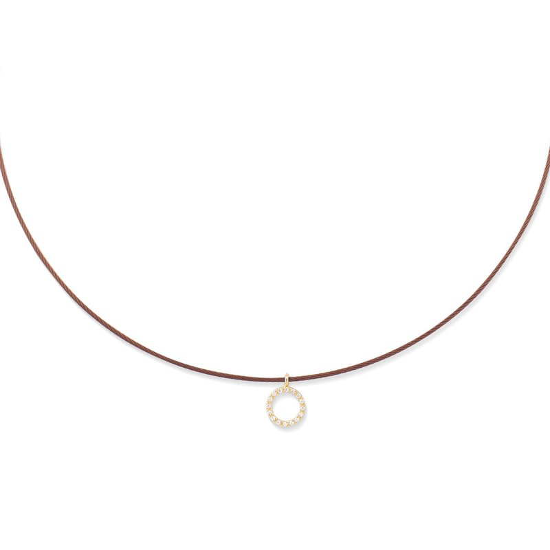 ALOR Burgundy Cable Halo Necklace with 18kt Yellow Gold & Diamonds