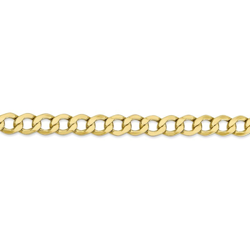 Quality Gold 10k 6.5mm Semi-Solid Curb Link Chain