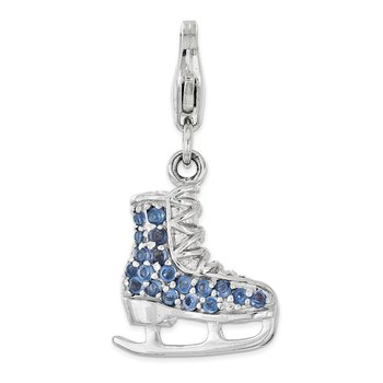 Sterling Silver Simulated Sapphire 3D Ice Skate w/ Lobster Clasp Charm