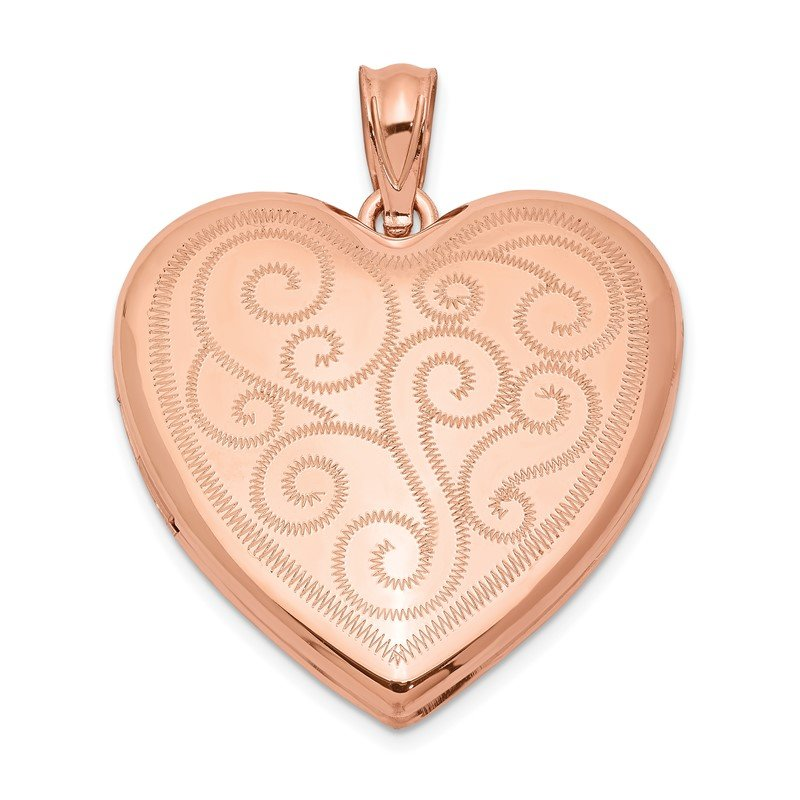 Quality Gold Sterling Silver Rose Gold-plated 24mm Swirl Design Heart Locket