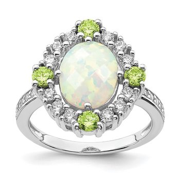 Sterling Silver Rhodium Plated Green & Clear CZ & Synthetic Opal Ring