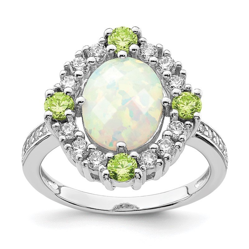 Quality Gold Sterling Silver Rhodium Plated Green & Clear CZ & Synthetic Opal Ring
