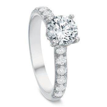 18K White gold Semi Mount for 1.00-2.50 ct center