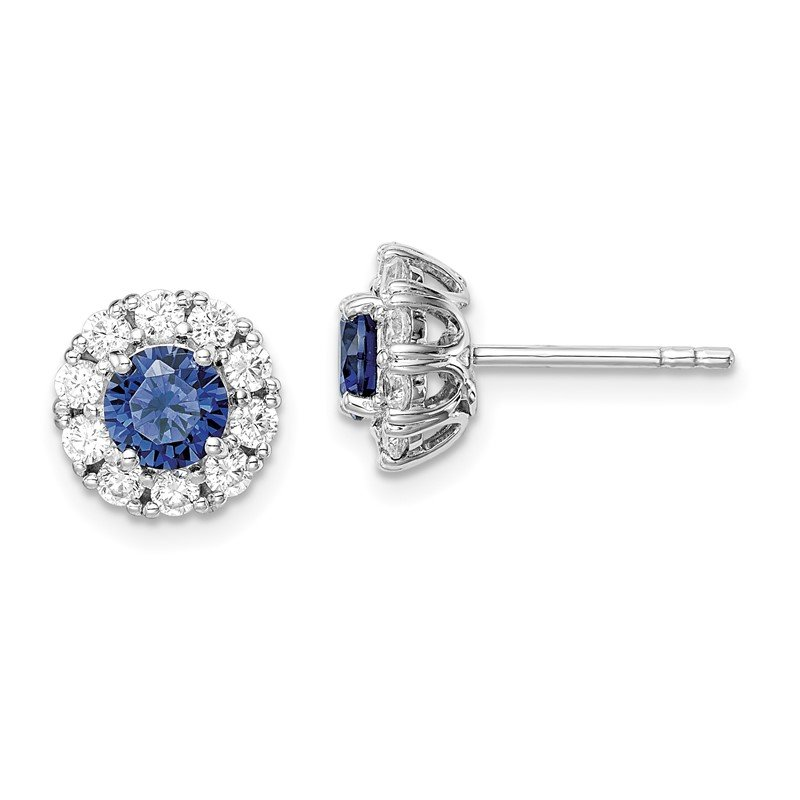 Quality Gold Sterling Silver Rhodium-plated Blue and White CZ Halo Post Earrings