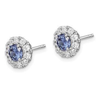 Sterling Silver Rhodium-plated Blue and White CZ Halo Post Earrings