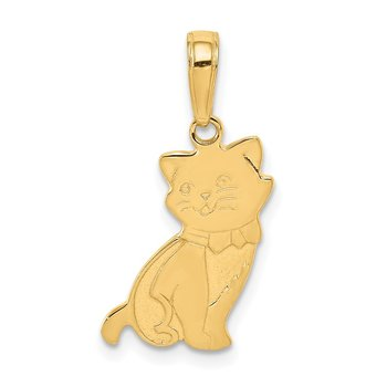 14K Sitting Cat Pendant