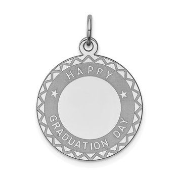Sterling Silver Rhodium-plated Happy Graduation Disc Charm