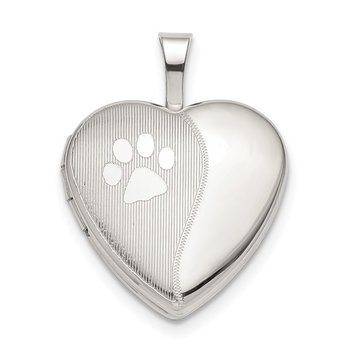 Sterling Silver 16mm Paw Print Heart Locket
