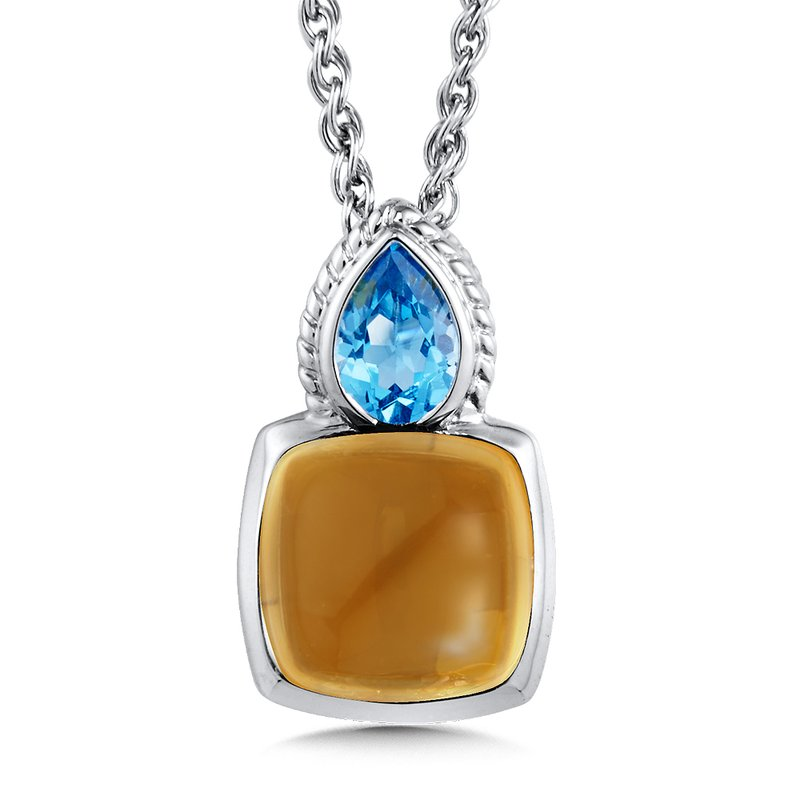 Colore Sg Sterling Silver Citrine & Blue Topaz Pendant