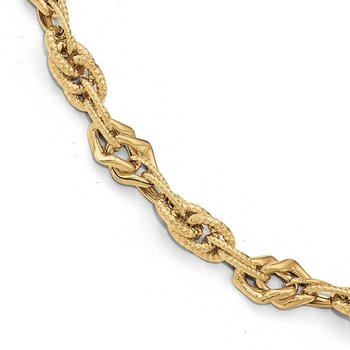 Leslie's 14k Polished Diamond-cut Fancy Link Bracelet
