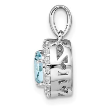 Sterling Silver Rhodium Plated White Topaz & Aquamarine Pendant