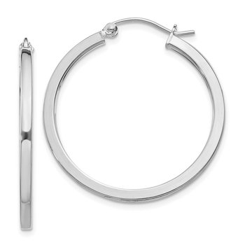 Sterling Silver Rhodium-plated 2x25mm Square Tube Hoop Earrings