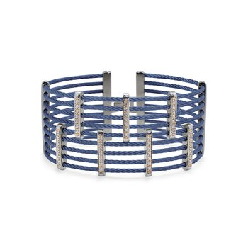Blueberry Cable Petite Precision Cuff with 18kt Rose Gold & Diamonds