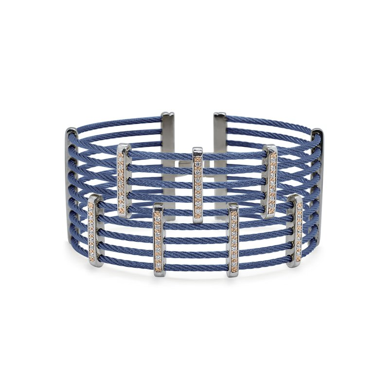 ALOR Blueberry Cable Petite Precision Cuff with 18kt Rose Gold & Diamonds