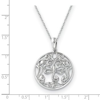 Sterling Silver CZ Lovebug 18in Butterfly Necklace