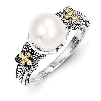 Sterling Silver w/14k FW Cultured Pearl Ring