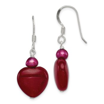 Sterling Silver Red Jade Hearts/FW Cultured Pearl Earrings