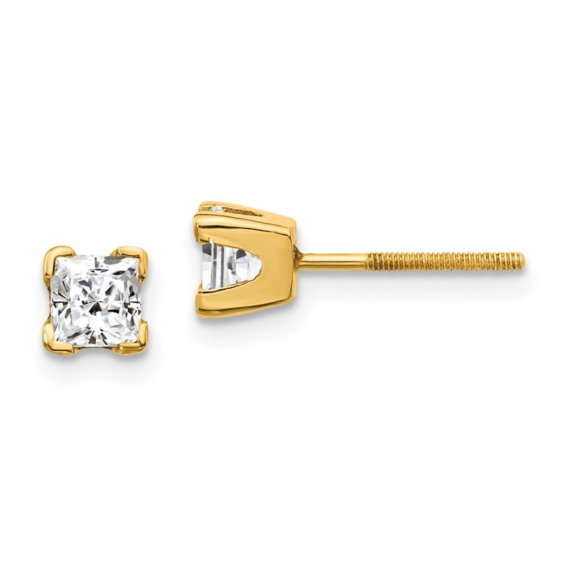 Quality Gold 14k AAA Quality Complete Princess-cut Diamond Earring