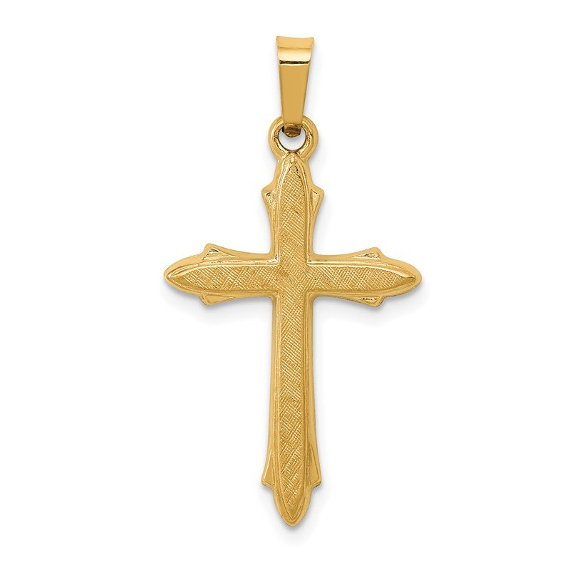14k Textured and Polished Passion Cross Pendant