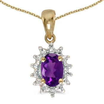 10k Yellow Gold Oval Amethyst And Diamond Pendant