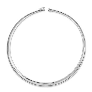 14k White Gold 8mm Domed Omega Necklace
