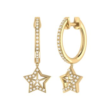 Lucky Star Hoop Earrings in 14 KT Yellow Gold Vermeil on Sterling Silver