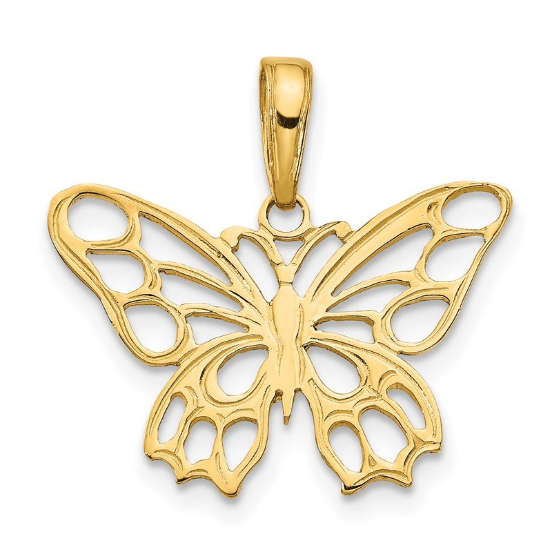 Quality Gold 14K Butterfly Cut-out Pendant