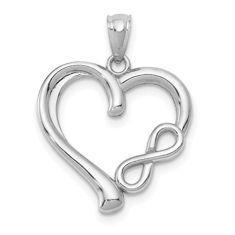 Quality Gold 14k White Gold Polished Small Infinity Heart Pendant
