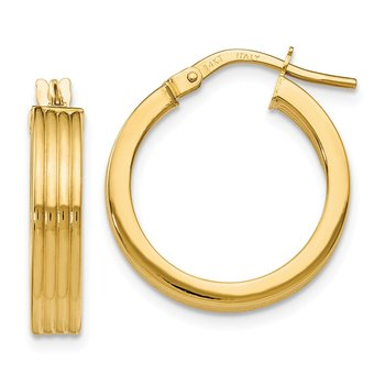 Leslie's 14k Polished Grooved Hoop Earrings