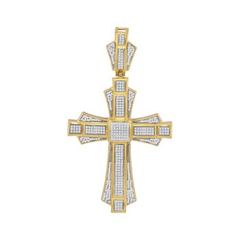 10kt Yellow Gold Mens Round Diamond Cross Saint John Charm Pendant 1.00 Cttw