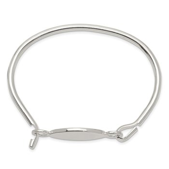 Sterling Silver Bangle w/Oval ID Plate Bracelet