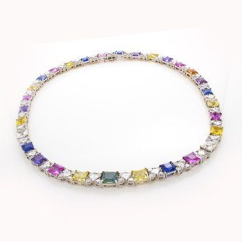 CEYLON SAPPHIRE AND DIAMOND NECKLACE