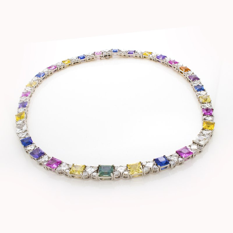 William Levine CEYLON SAPPHIRE AND DIAMOND NECKLACE