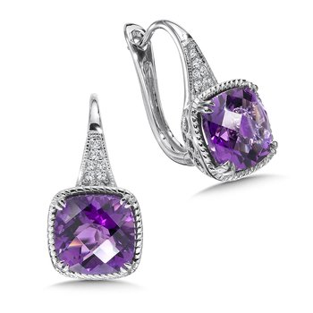 Amethyst and Diamond Earrings in 14K White Gold