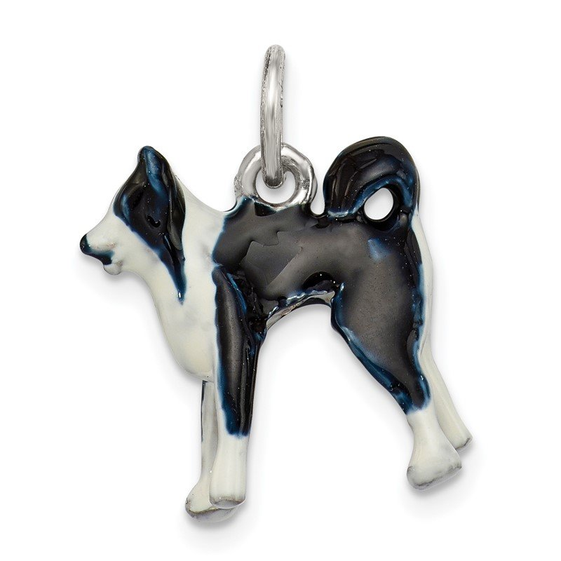 Quality Gold Sterling Silver Enameled Border Collie Dog Charm