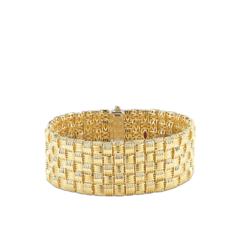 Roberto Coin 18Kt Gold 5 Row Bracelet With Diamond Clasp