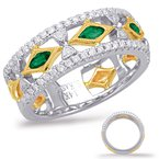 S. Kashi  & Sons Yellow White Gold Tsavorite Diamond Ring